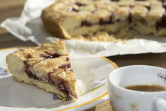 Coffee espresso and jam tart Stock Photography