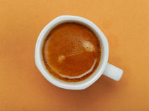 Coffee espresso with lush cream on background Stock Photos