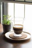 Coffee,Espresso Macchiato on wooden table Stock Image