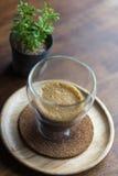Coffee,Espresso Macchiato on wooden table Stock Photography