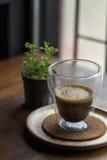 Coffee,Espresso Macchiato on wooden table Royalty Free Stock Photo