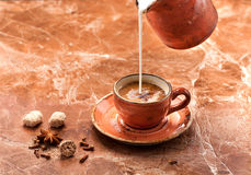 Coffee Espresso, milk and spices Stock Image