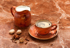 Coffee espresso, milk and spices. Royalty Free Stock Photography