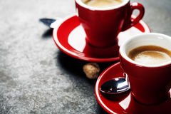 Coffee Espresso. Red Cups Of Coffee Stock Image