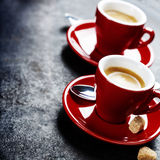Coffee Espresso. Red Cups Of Coffee Royalty Free Stock Photo