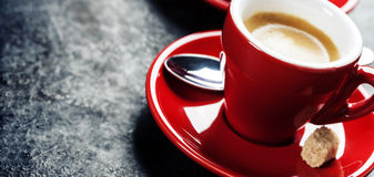 Coffee Espresso. Red Cups Of Coffee Royalty Free Stock Images