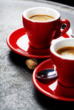 Coffee Espresso. Red Cups Of Coffee Royalty Free Stock Photography