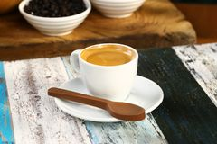 Coffee Espresso. Espresso coffee in white cup royalty free stock photos