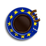 Coffee in european union flag cup with euro cookie  over Royalty Free Stock Photography
