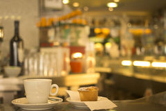 Coffee expresso cup and cake restaurant cafe bar Royalty Free Stock Photography