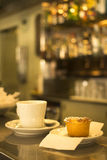 Coffee expresso cup and cake restaurant cafe bar Stock Images