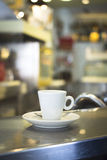 Coffee expresso cup spoon saucer restaurant cafe bar Royalty Free Stock Images