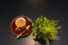 Coffee, Expresso, Hot Infusion, Beautiful Classic China in Black Background, Warm Beverage Royalty Free Stock Images