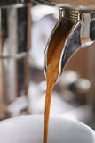 Coffee extraction from professional coffee machine Stock Image