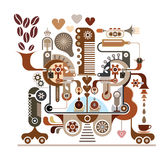 Coffee factory - vector illustration Royalty Free Stock Image