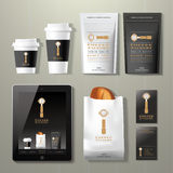 Coffee factory vintage corporate identity template design set. On wood background Stock Photography