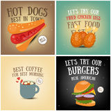Coffee, Fast Food, Ice Cream Posters Royalty Free Stock Image