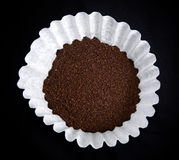Coffee in filter on black Stock Photo