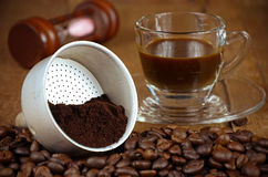 Coffee Filter with Roasted and Grounded Coffee Beans M Stock Images