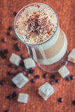 Coffee with fine milk foam. The crown of taste and aroma Royalty Free Stock Image