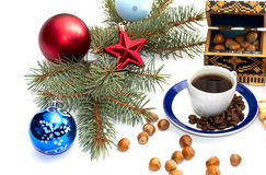 Coffee, fir-tree branch, casket and forest nutlets Stock Photography