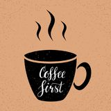 Coffee first. Hand written lettering illustration. Coffee first. Hand written lettering inscription, calligraphy vector illustration. Coffee poster for your Stock Photo