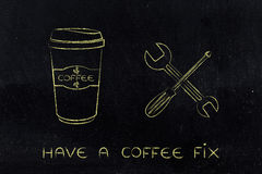 Coffee fix, cup & wrench illustration Stock Image