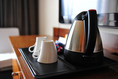 Coffee flask in hotel room. Coffee flask at disposal in hotel bedroom royalty free stock photos