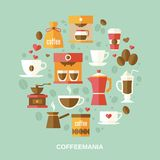 Coffee flat circle Royalty Free Stock Photos