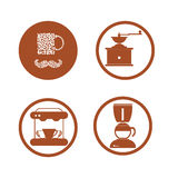 Coffee flat collection drink decorative icons vector illustratio Stock Photography