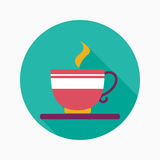 Coffee flat icon with long shadow. Vector illustration file royalty free illustration