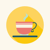 Coffee flat icon with long shadow. Vector illustration file stock illustration