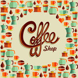 Coffee flat icon poster illustration Royalty Free Stock Photos