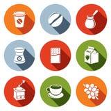 Coffee flat icon set Stock Image