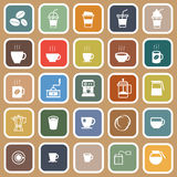 Coffee flat icons on brown background Stock Image