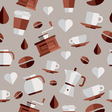 Coffee flat icons illustration. Coffee flat icons seamless pattern set. This vector illustration is layered for easy manipulation and custom coloring Stock Image