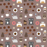 Coffee flat icons seamless pattern 2 Royalty Free Stock Photo