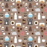 Coffee flat icons seamless pattern Stock Photo