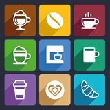 Coffee Flat Icons Set 44 Royalty Free Stock Photography