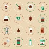 Coffee Flat Icons Set. With coffee-bulb turk french press isolated vector illustration Royalty Free Stock Images