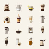 Coffee flat icons Royalty Free Stock Photography