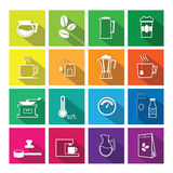 Coffee flat icons set vector flat line Royalty Free Stock Images