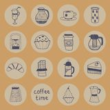 Coffee flat icons set. Vector graphic illustration design Stock Photos