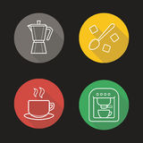 Coffee flat linear long shadow icons set. Classic coffee maker, espresso machine, steaming cup on plate, moka pot, spoon with refined sugar cubes. Vector line Royalty Free Stock Image