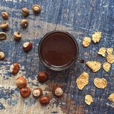 Coffee flatlay with chestnuts, acorn, corn flakes Stock Images