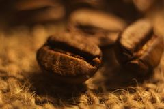 Coffee flavored roasted grain close-up, brown color stock image