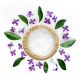 Coffee on a floral plate Royalty Free Stock Photography