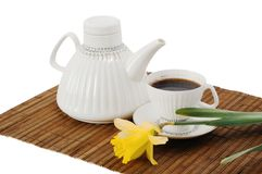 Coffee and flower Stock Images