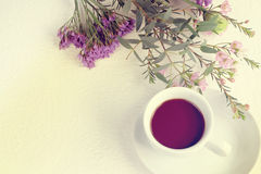 Coffee with flower sweet tone Royalty Free Stock Photos