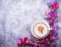 Coffee and flowers. Top view Stock Photo